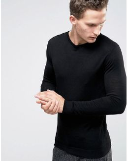 Knitted Crew Neck Jumper In Merino Wool