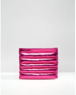 Metallic Puffy Panel Clutch Bag