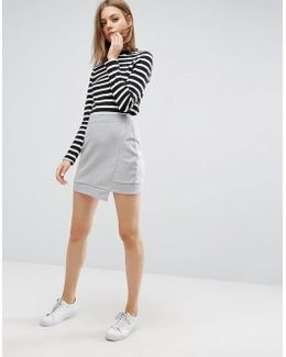 Mini Skirt In Sweat With Step Hem