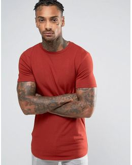 Longline Muscle T-shirt With Curved Hem In Red