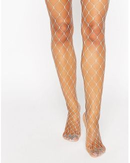Oversized Fishnet Tights In Pink