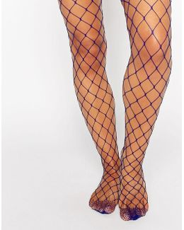 Oversized Fishnet Tights In Colbalt