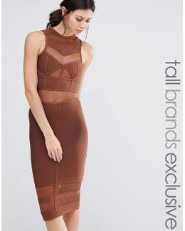 Bandage Midi Dress With Mesh Inserts