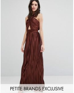 Allover Pleated Cross Front Open Back Maxi Dress