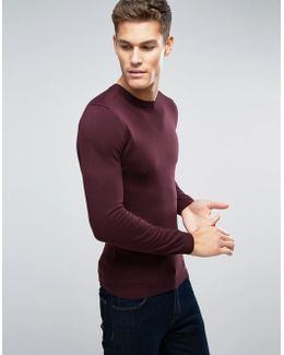 Muscle Fit Cotton Crew Neck Jumper In Burgundy