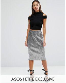 Metallic Pleat Skirt