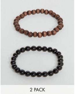 Beaded Bracelet Pack In Black And Brown
