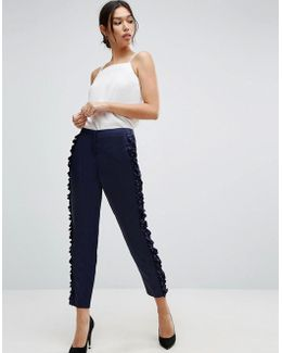 Ruffle Detail Slim Pants