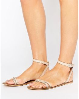 Flery Leather Flat Sandals