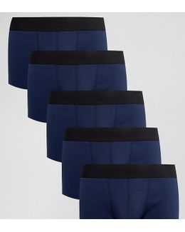 Hipsters In Navy Rib Fabric 5 Pack