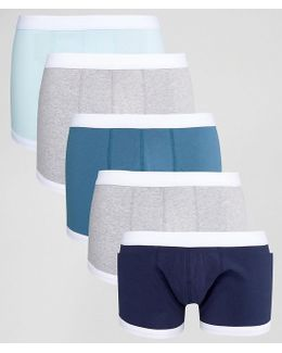 Trunks In Blue With Contrast Binding 5 Pack Save