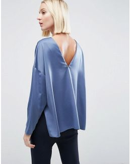 Premium Oversized Top In Satin With V Back
