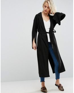 Belted Duster Coat With Split Sleeve
