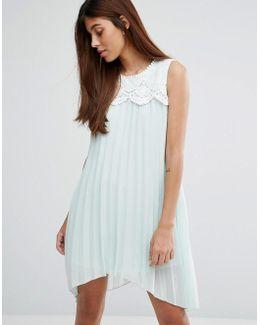 Hanky Hem Dress With Lace Detail