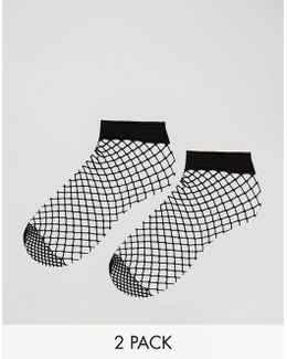 2 Pack Oversized Fishnet Ankle Socks