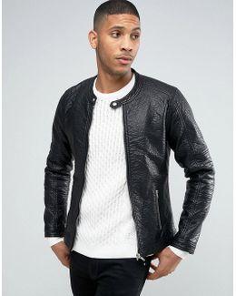 Barneys Faux Leather Ribbed Biker Jacket