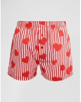 Woven Boxers With Heart Print