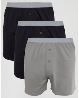 Jersey Boxers In Monochrome With Grey Textured Waistband 3 Pack Save