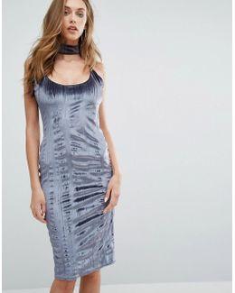 Crushed Velvet Midi Dress With Choker
