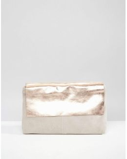 Leather And Metallic Pinched Top Clutch Bag