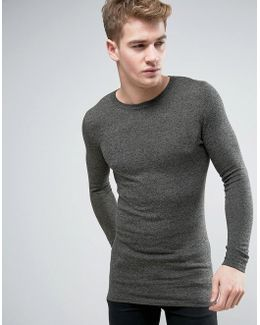 Longline Crew Neck Jumper In Muscle Fit