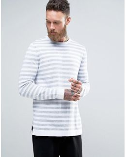 Longline Knitted Jumper In Grey Stripe