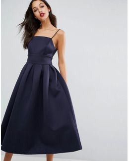Strappy Pinny Scuba Prom Midi Dress