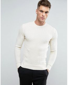 Cotton Flat Cable Knit Jumper