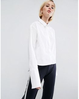 Cropped Smart Cotton Shirt With Deep Cuff