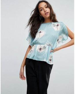Satin Tea Blouse In Japanese Floral