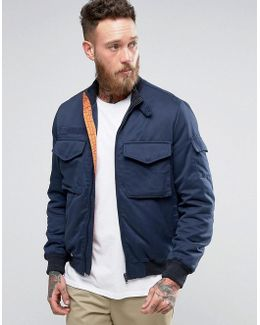 Bomber Jacket With Funnel Neck In Navy