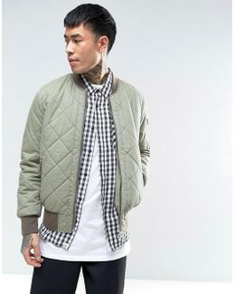 Relaxed Bomber Jacket With Quilt Detail In Washed Khaki