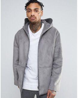 Faux Shearling Reversible Hooded Jacket In Grey