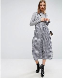 Culotte Pants With Straps In Gingham Check