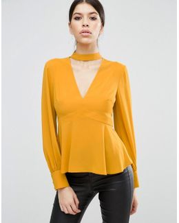 V Neck Blouse With Neck Band