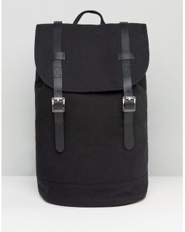 Backpack In Canvas With Faux Leather Trims