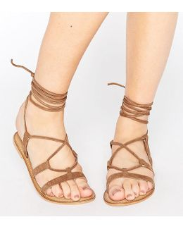 Foundation Wide Fit Leather Lace Up Sandals