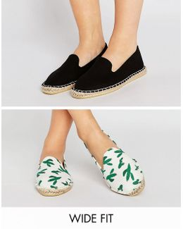Jeanie Wide Fit Two Pack Espadrilles