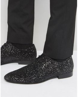 Glitter Lace Up Shoes In Black
