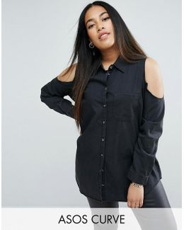 Denim Cold Shoulder Shirt In Washed Black