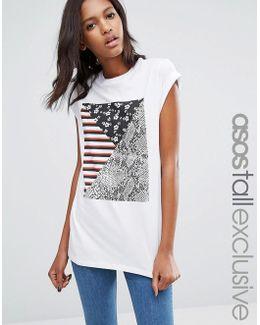 Mixed Print Boyfriend T-shirt