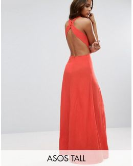 Open Back Maxi Dress In Crinkle Fabric