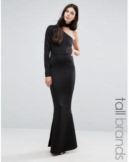 One Shoulder Choker Neck Maxi Dress