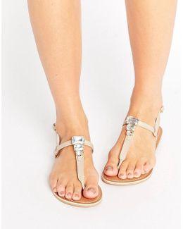 Felena Leather Embellished Flat Sandals