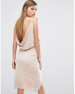 Slinky Wrap Front Dress With Cowl Back