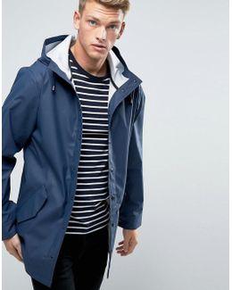 Shower Resistant Rain Coat In Navy
