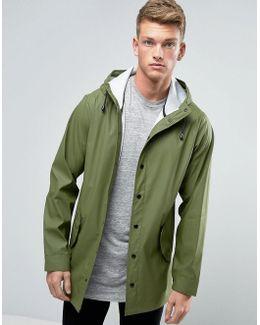Shower Resistant Rain Coat In Khaki