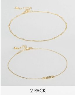 Pack Of 2 Fine Ball Charm Anklets