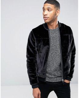 Barneys Premium Faux Fur Trimmed Pocket Bomber Jacket