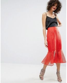Midi Skirt In Grid Organza With Peplum Hem Detail